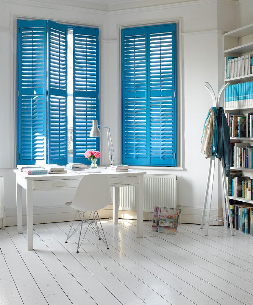 Blue_shutters, Bright blue shutters, wooden shutters, office, desks, white floorboards, painted white floorboards, wooden floorboards, colourful shutters, Pippa Jameson
