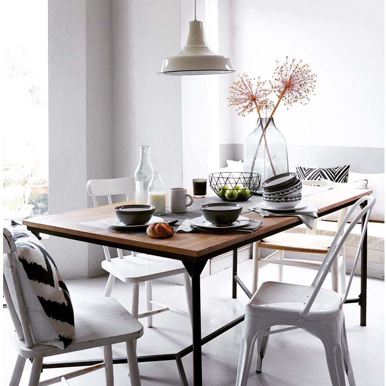 tesco living, brent darby, pippa jameson interiors, homestyle magazine, grey walls, fining rooms, reclaimed table, ikat patterns, ikat china, Layer up your Monochrome and Ikat chinaware for a calm and contemporary dining room