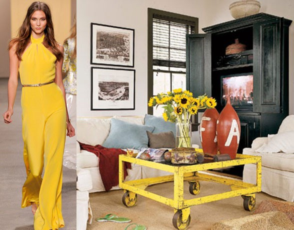 Mustard in interiors, yellow trends, fashion and interiors