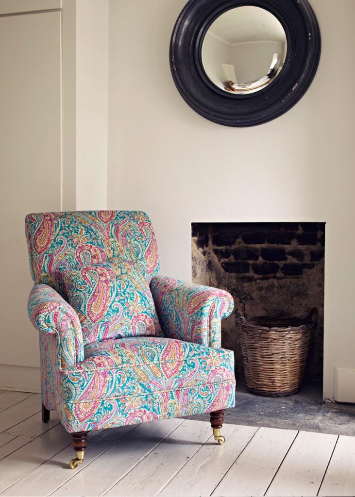 Liberty Art Fabrics Interiors _Turquoise Felix Raison print Velvet