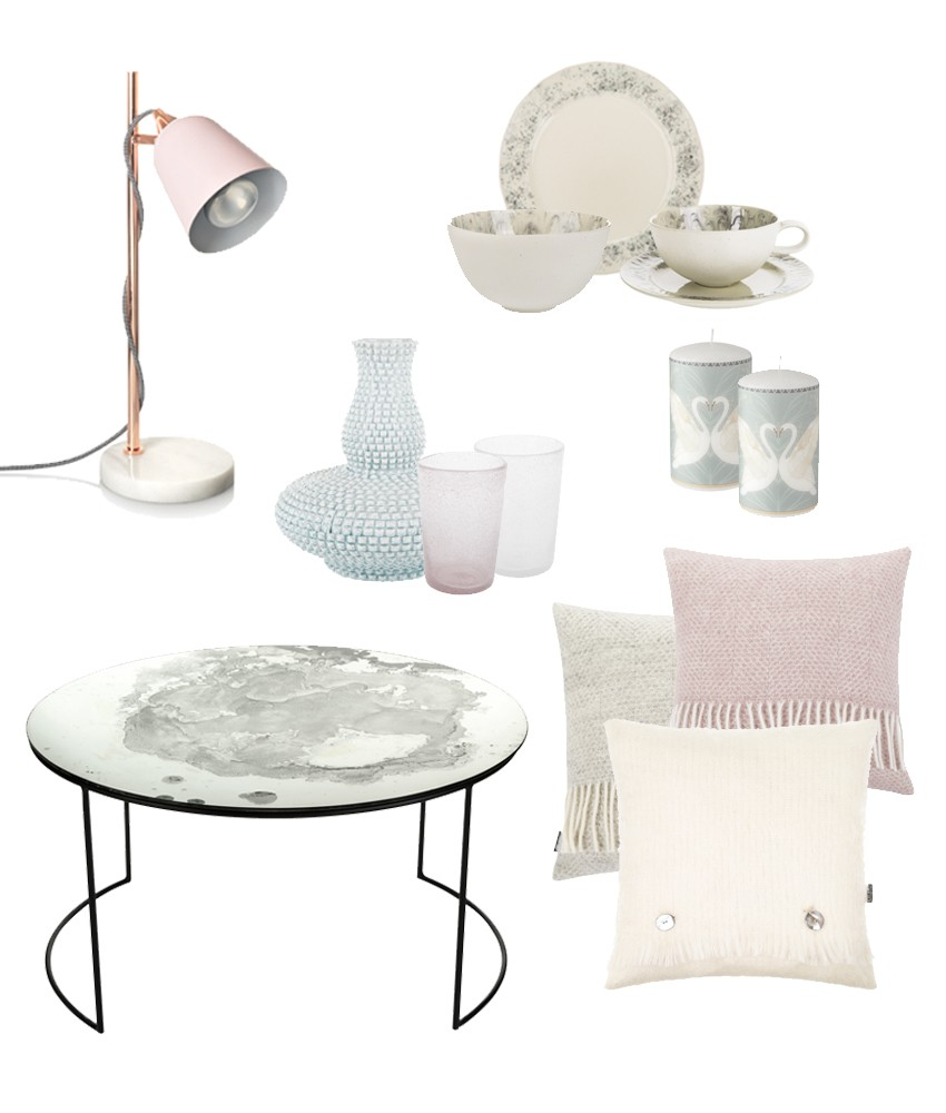 Pale pinks and greys showing raw pastels trend for 2017