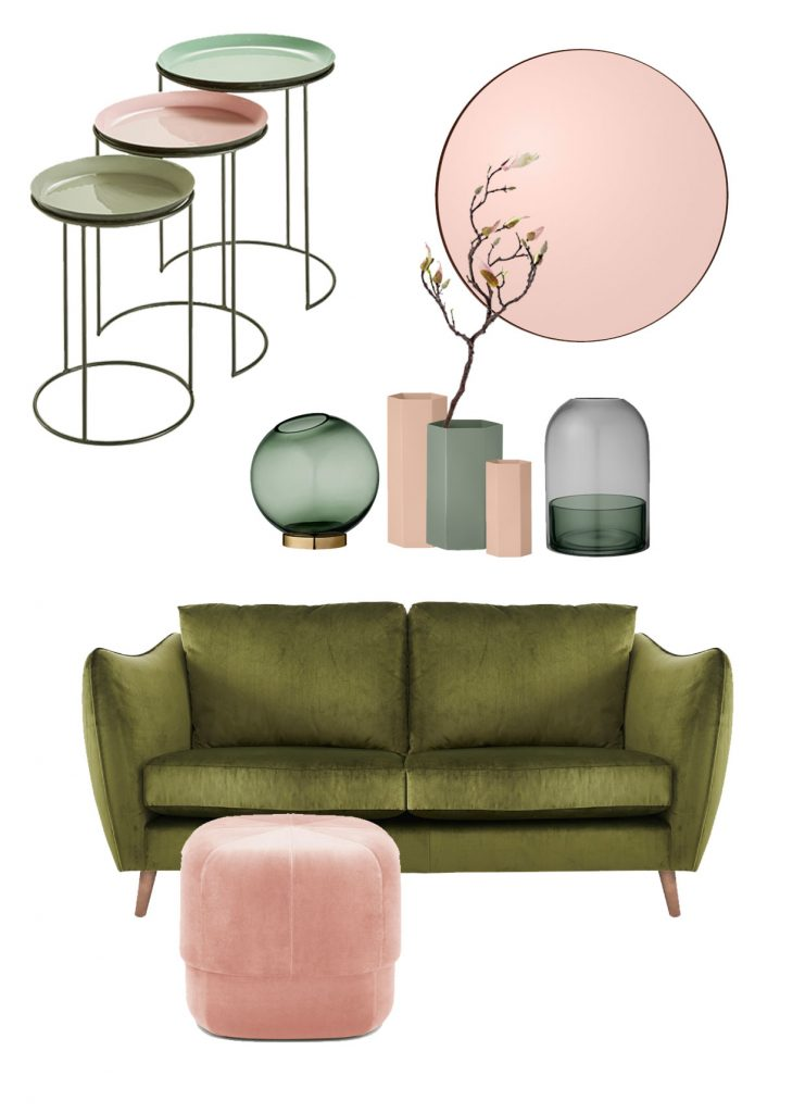 Green and blush interior trends with green velvet sofa and rose gold accessories by Pippa Jameson