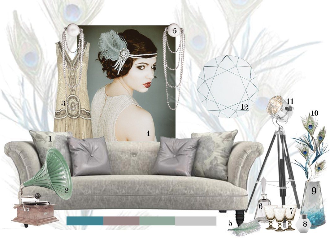 1920's party, DFS, DFS sofas, NYE Party, Art Deco accessories, 1920's interiors, 1920's colours, 1920's furniture