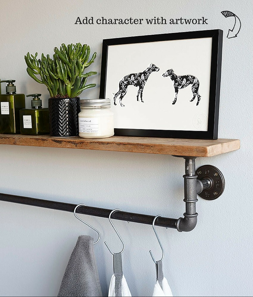 Monochrome bathrooms with patterned tiles,and a reclaimed shelf, styled by Pippa Jameson