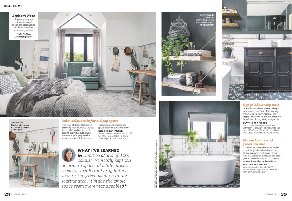London based Interior Stylist Pippa Jameson has her home, Half Acres location, photographed for Ideal HOme Magazine