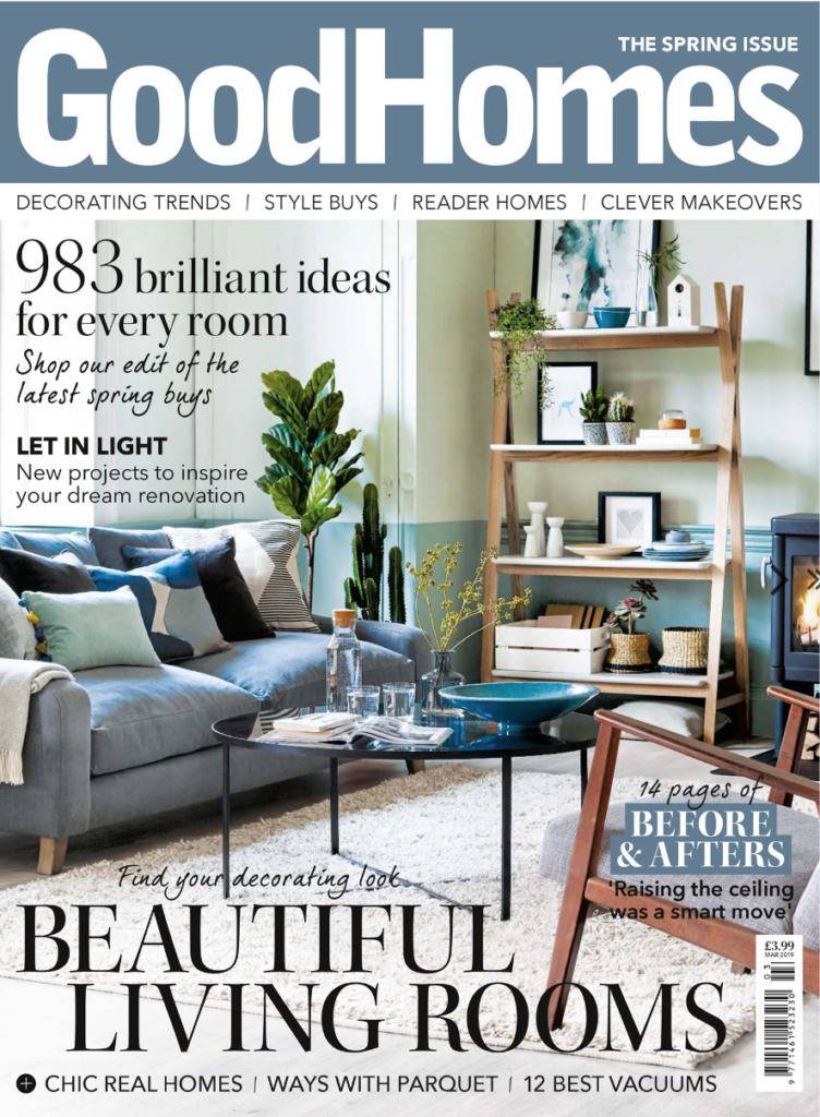 London based Interior Stylist, Pippa Jameson, shoots the cover for Good Homes magazine, March 2019