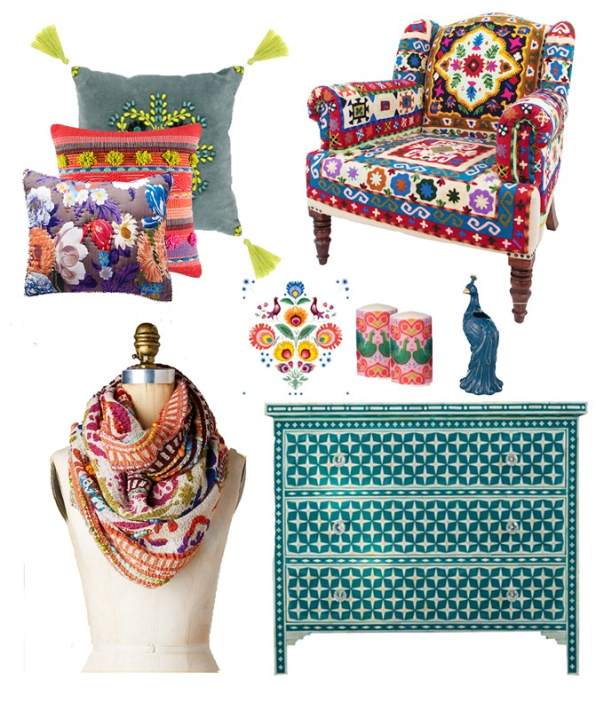 Trend watch: All that Glistens and Fluro Folk. Folk inspired interiors and accessories and gypsy style, trends 2017 and 2016 by Pippa Jameson Interiors